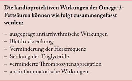 Kardioprotektive Wirkungen (Schutzfunktionen bzgl. Herz-/Kreislaufsystem) der Omega-3-Fettsäuren